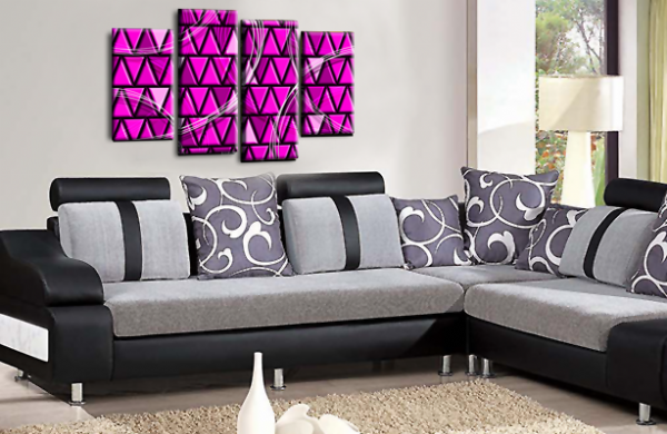 Abstract Split Wall Art Plum Grey Black Canvas Picture Print